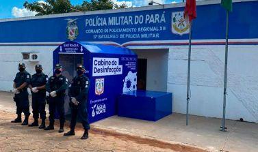 Comando do 17° BPM instala cabine de desinfecção no combate ao novo coronavírus