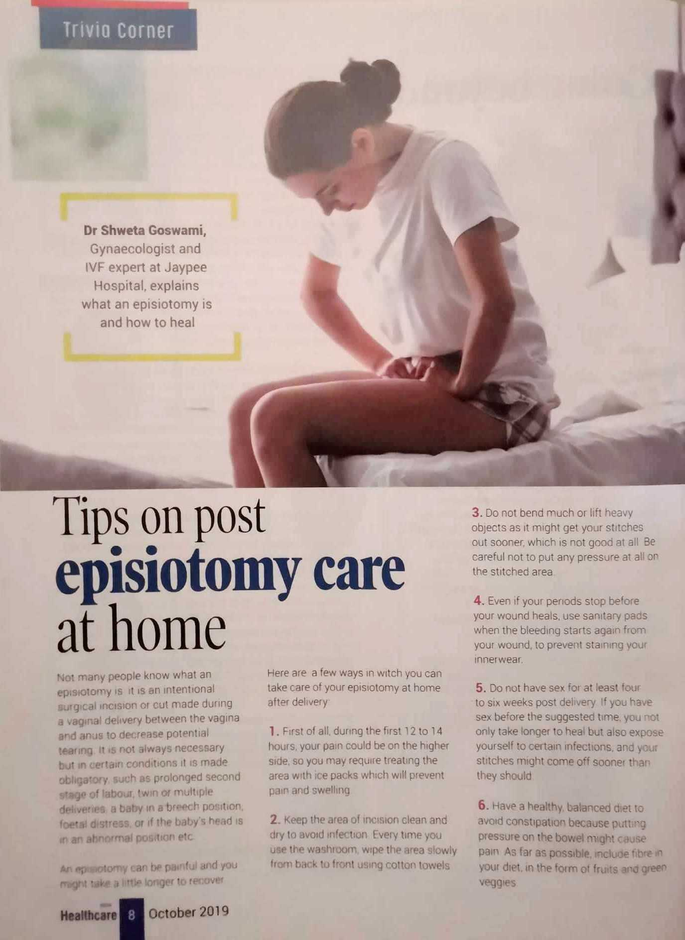 Tips on episiotomy care at home – Trivia Corner