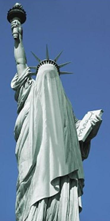 כך ייראה העולם בקרוב אם נהיה שאננים. פסל החרות עטוף רעלה.
