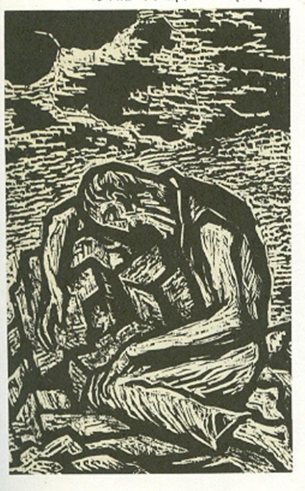 ירמיהו מתאבל על חורבן הבית תחריט אבן של יעקב שטיינהארט