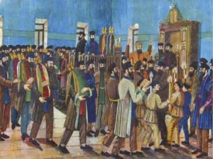 הקפות בבית הכנסת, ציור משנת 1937 לערך. ויקיפדיה