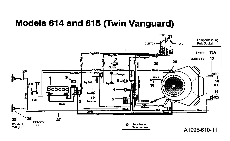 MTD Rasentraktoren 16/107 135T615G678 (1995) Schaltplan
