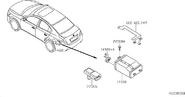2014 Nissan Maxima Vapor Canister Filter. REAR, FRONT