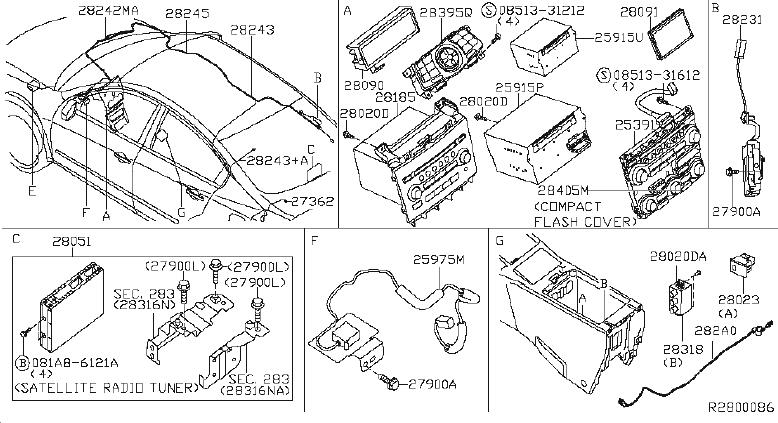 1999 Nissan Maxima Radio Control Unit. AUDIO, ANTENNA