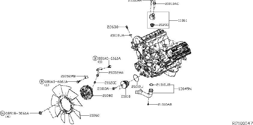 Nissan Titan Engine Coolant Thermostat Housing Stud