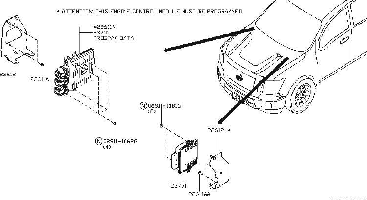 Nissan Frontier Heated Oxygen Sensor Bracket. CONTROL