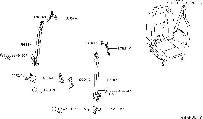2006 Nissan Titan Belt assy-tongue, pretensioner front rh