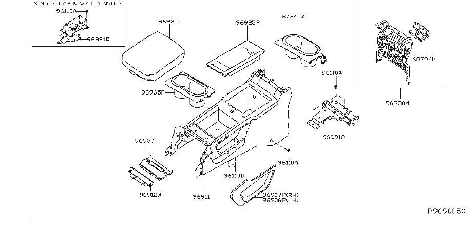Nissan Titan Console Trim Panel (Left, Right). COMF, PRO