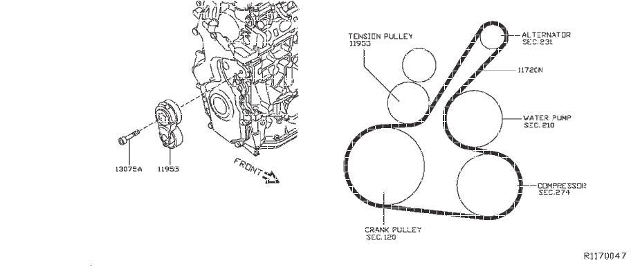 Nissan Sentra Belt Tensioner Bolt. FAN, ALTR, COMPRESSOR