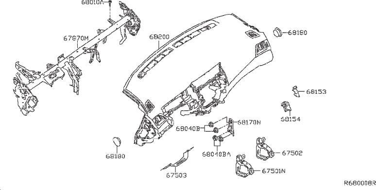 Nissan Sentra Bracket Instrument Cover. (Lower). PAD, LID
