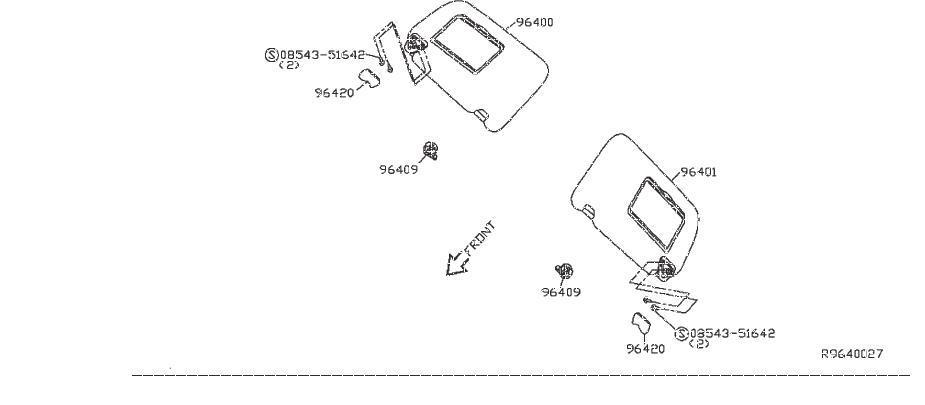 Nissan Sentra Sun Visor Holder. CONVERTIBLE, SUNVISOR