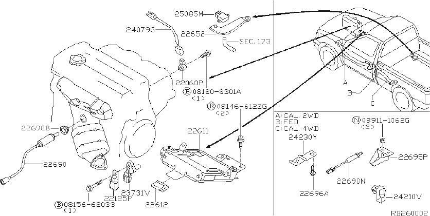 Nissan Frontier Harness Engine SUB. Harness SUB, Knock