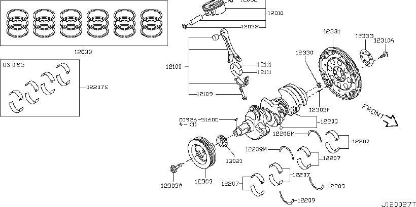 Nissan Quest Engine Piston Ring. ILLUSTRATION, CRANKSHAFT