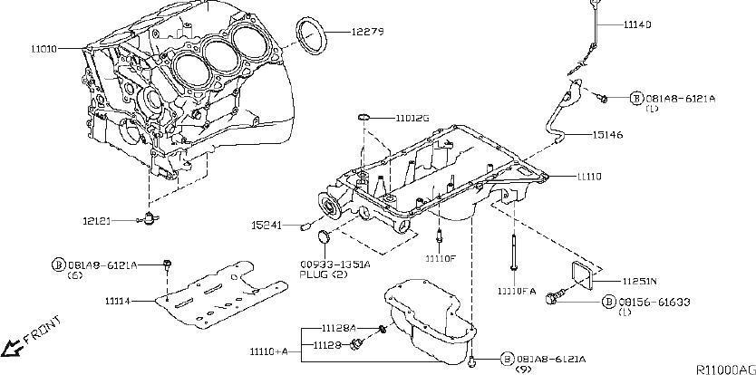 2001 Nissan Pathfinder Engine Oil Dipstick Tube. BLOCK