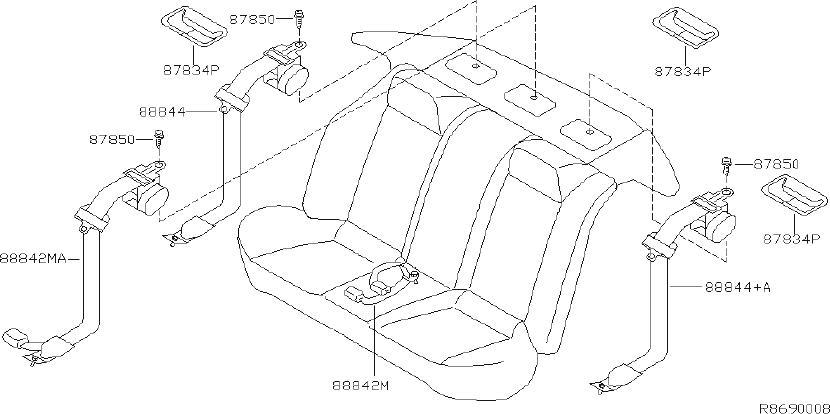 Nissan Altima Seat Belt Lap and Shoulder Belt (Rear