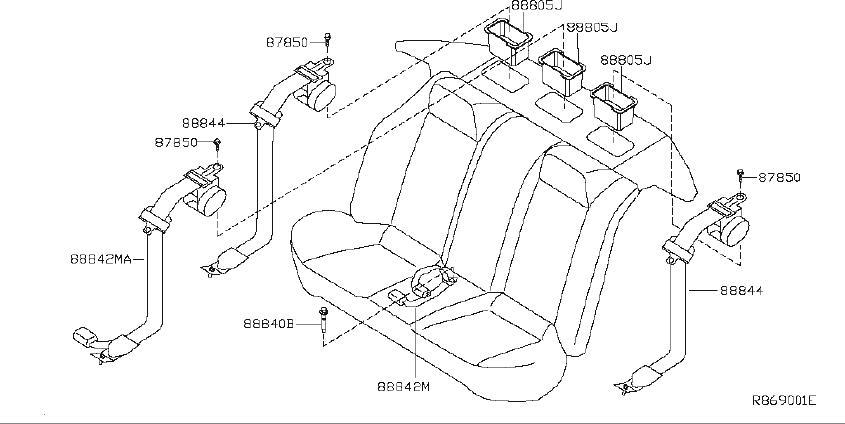 Nissan Altima Seat Belt Lap And Shoulder Belt (Rear). Trim
