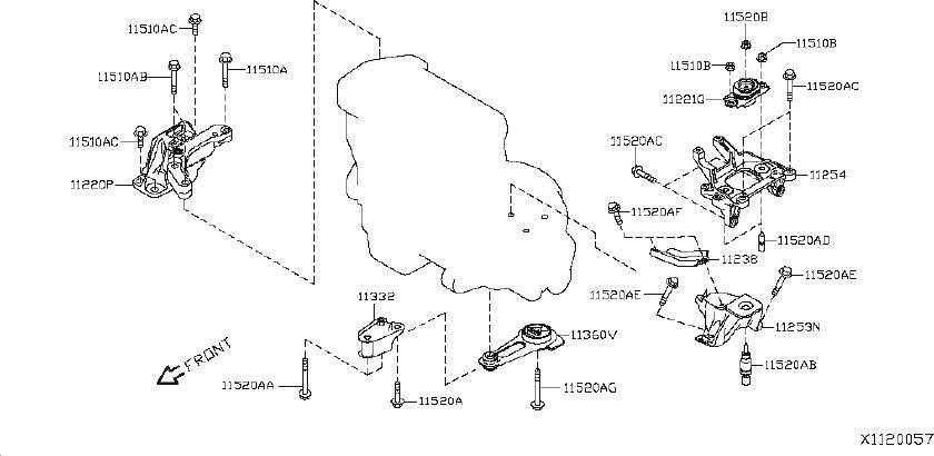 Nissan Versa Belt Tensioner Bolt. MTG, REDUCTION, UDIO