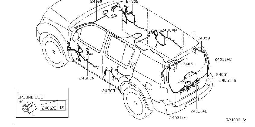 Nissan Pathfinder Bracket Harness Clip. ENGINE, ROOM