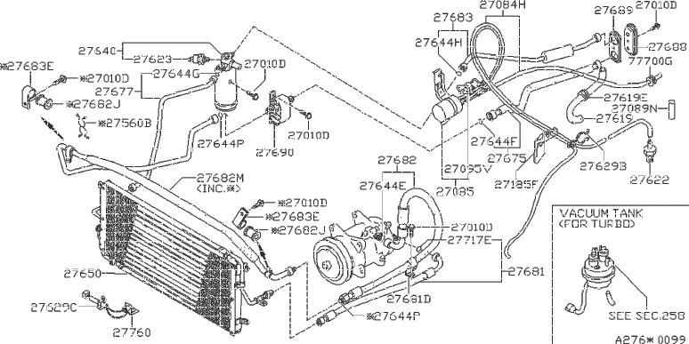 Nissan 280ZX Clip Hose. Clip Wiring Harness. VAC, FORA