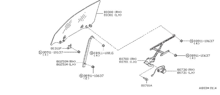 Nissan 240SX Stopper Side Window Glass. REGULATOR, DOOR