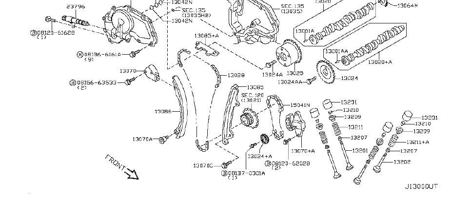 Nissan Sentra Engine Exhaust Valve. MECHANISM, CAMSHAFT