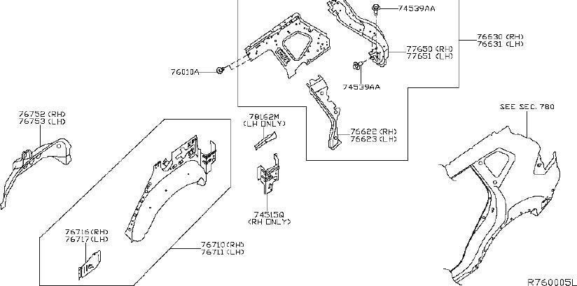 Nissan Rogue Wheel Housing Side Panel (Right, Rear). Body