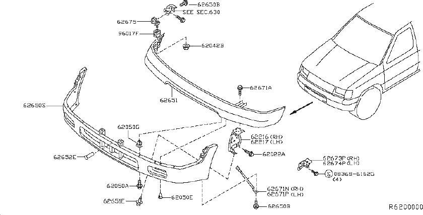 Nissan Xterra Stay Bumper Side. (Front, Lower). SAGE