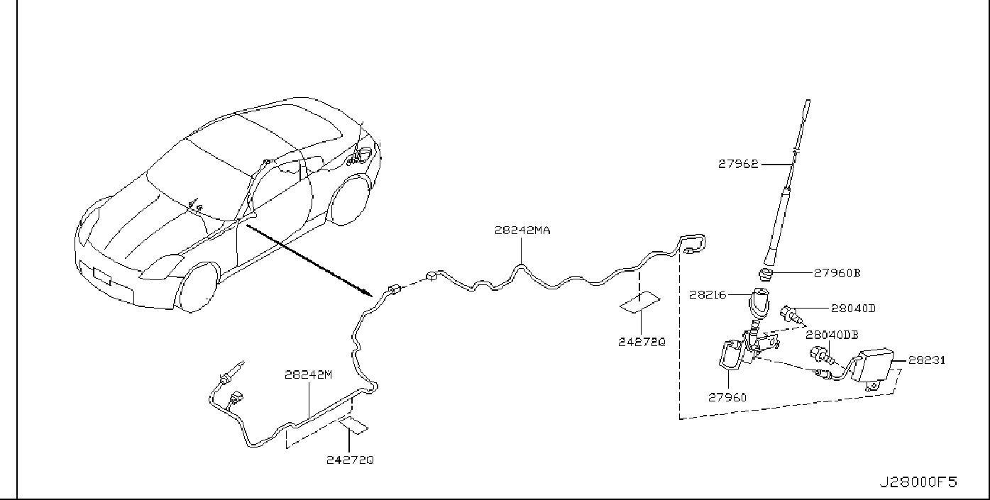 Nissan 350Z Wire Earth Bonding. AUDIO, UNIT, ANTENNA