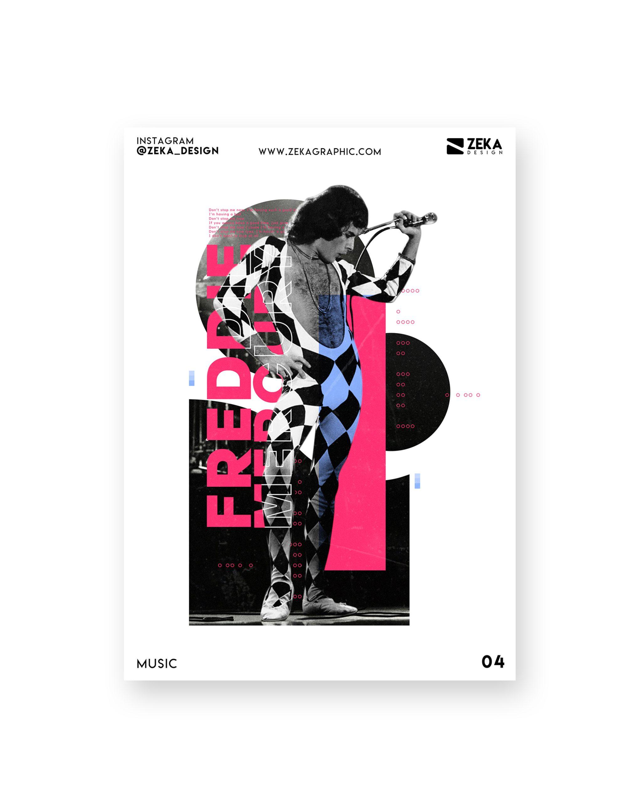 Freddie Mercury Music Poster Design Collection Zeka Design