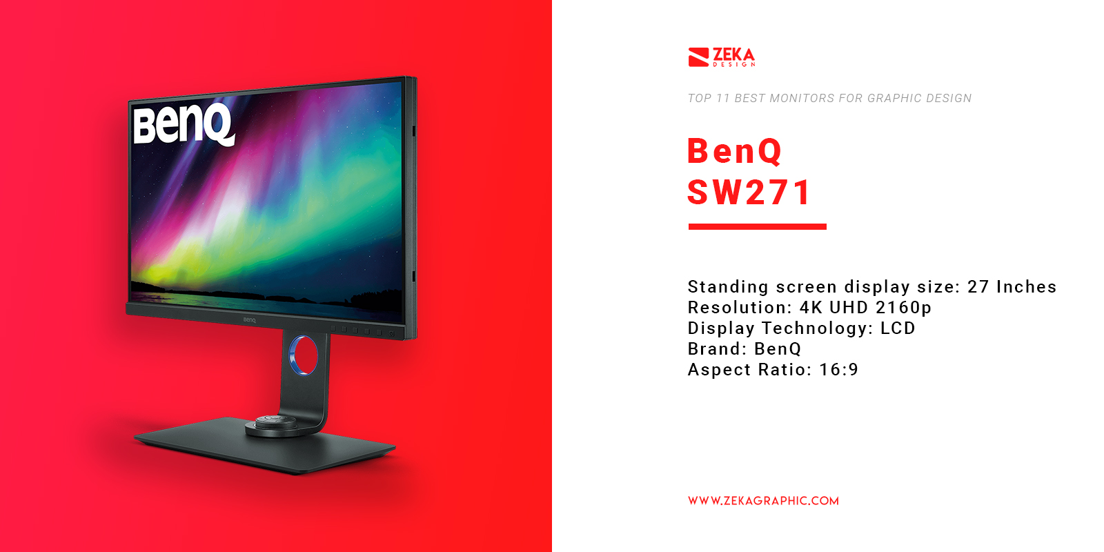 BenQ SW271 4K Monitor for Graphic Design