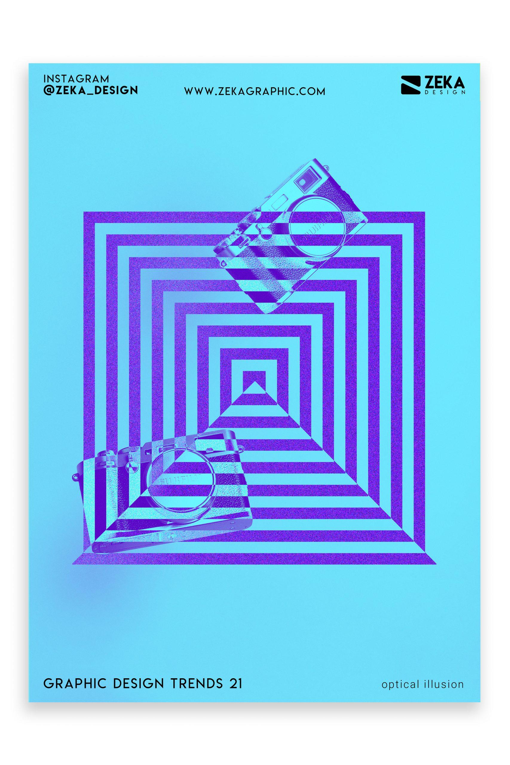Graphic Design Trends 2021 Optical Illusion Poster