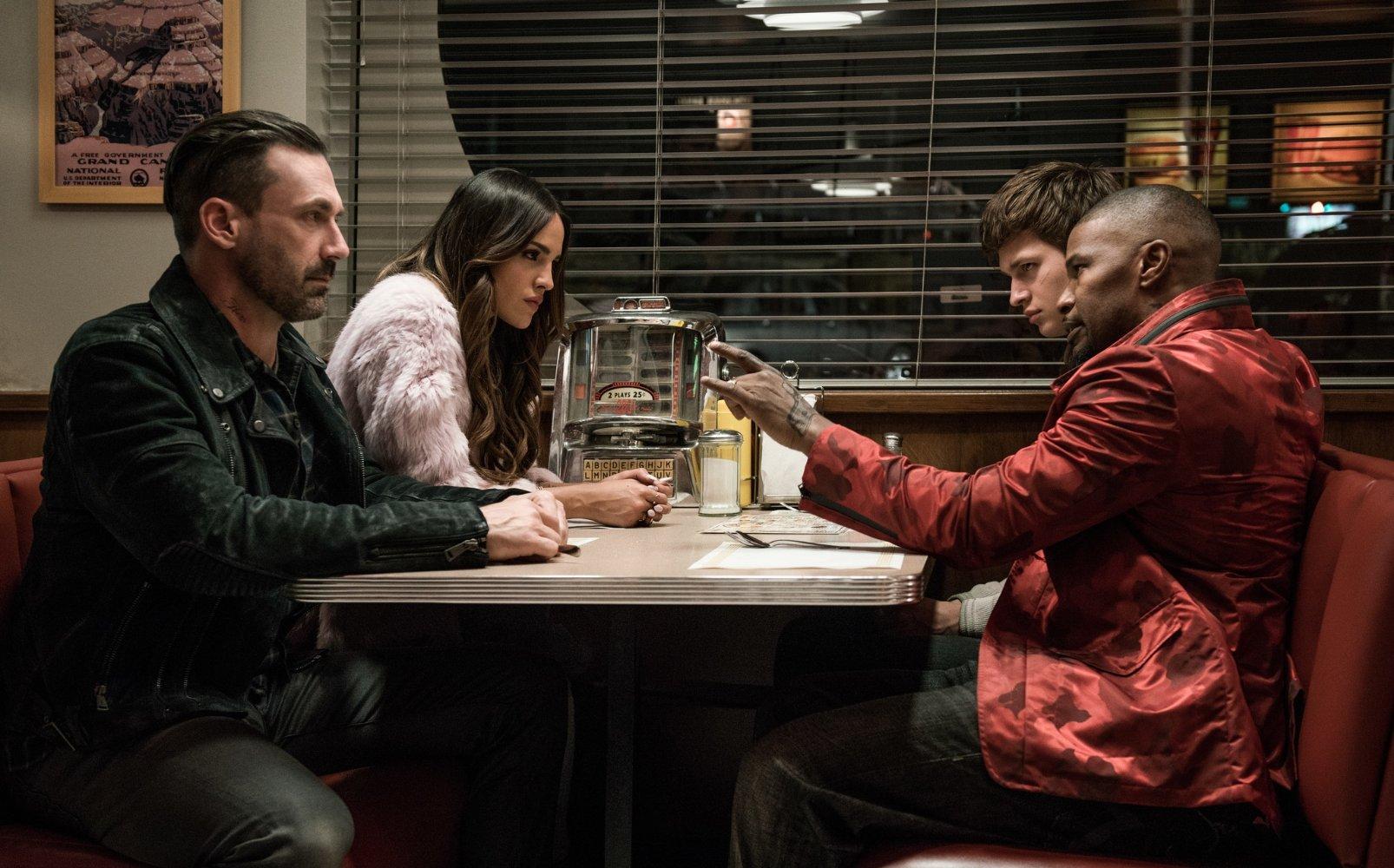 Jon Hamm, Eiza González, Ansel Elgort, and Jamie Foxx in BABY DRIVER (2017)