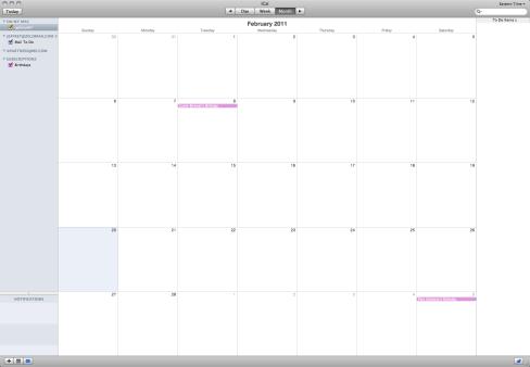 No data in the calendar.
