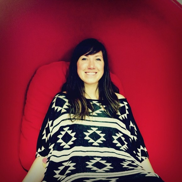 Studio friend J. Hische in the big red chair at A Space Apart.