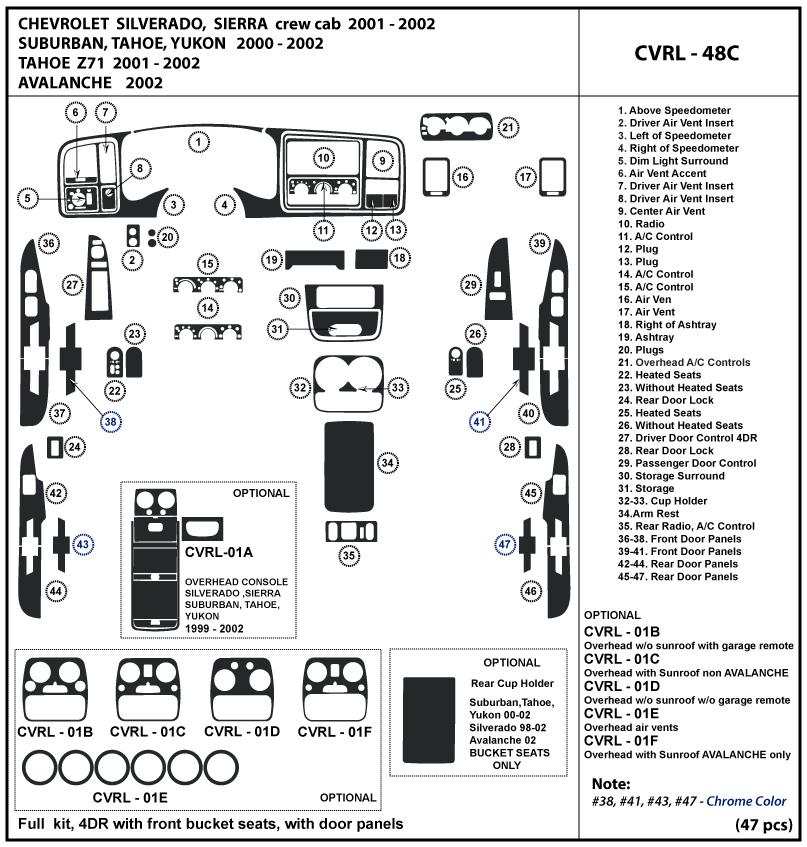 Chevrolet Silverado 01-02 2001 2002 bucket seats, with