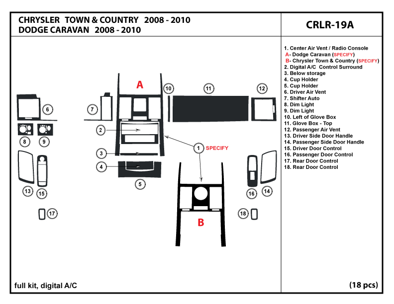 Chrysler Town & Country 08-10 2008 2009 2010 digital A/C