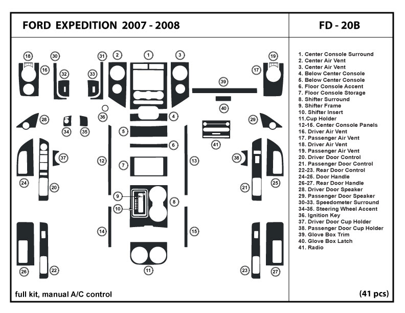 Dash Kit Overlay Trim for Ford Expedition with manual A/C