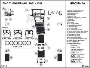 GMC Yukon Denali 0102 2001 2002 Dash Kit Trim Tuning