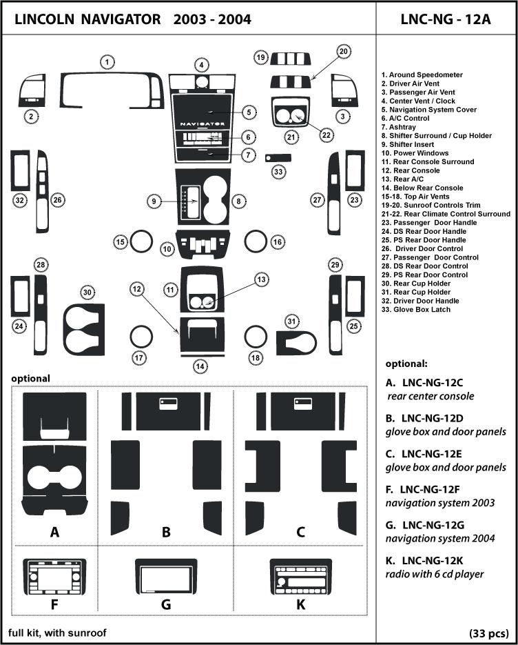 Dash Trim Kit Set for Lincoln Navigator with sunroof 03-04