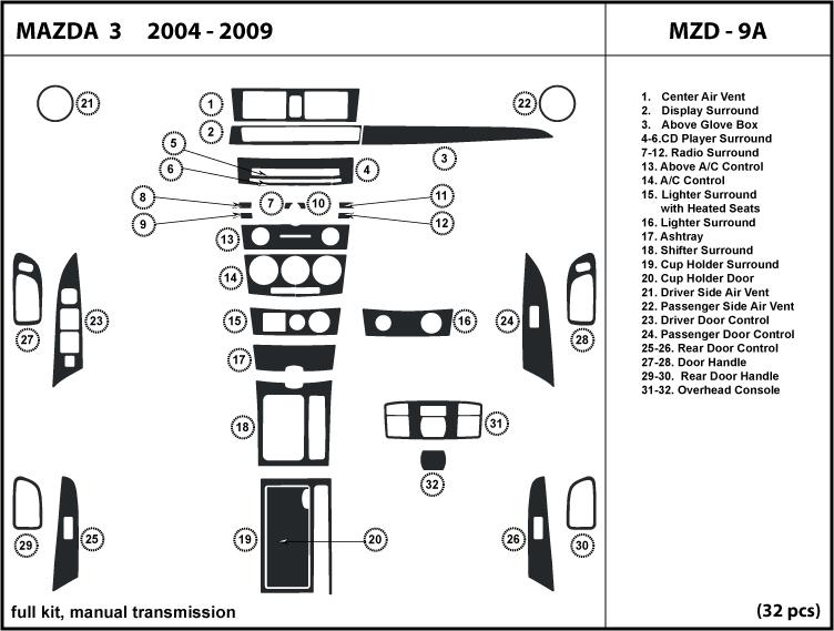 Fits Mazda 3 04-09 manual transmission Dash Kit Trim Wood