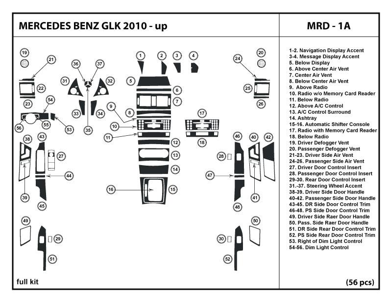 Fits Mercedes-Benz GLK 10-12 2010 2011 2012 Dash Kit Trim