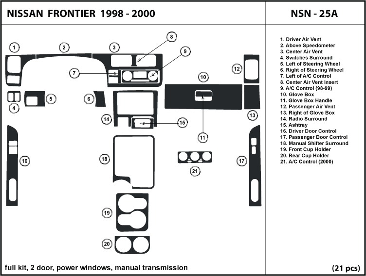 Dash Kit Trim for Frontier 2 doors, with power windows