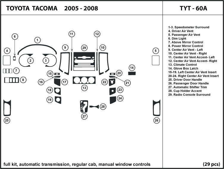 Toyota TACOMA 05-08 auto transmission/regular cab/manual