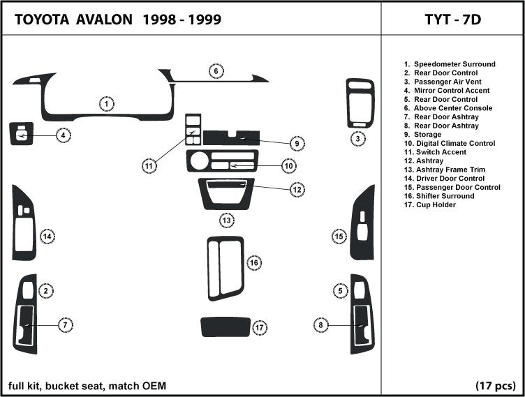 Dash Trim Kit Set for Toyota AVALON 98-99 1998 1999 with