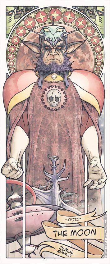 Illustration THE MOON représentant Le Grand Strateguerre Vega (Goldorak)