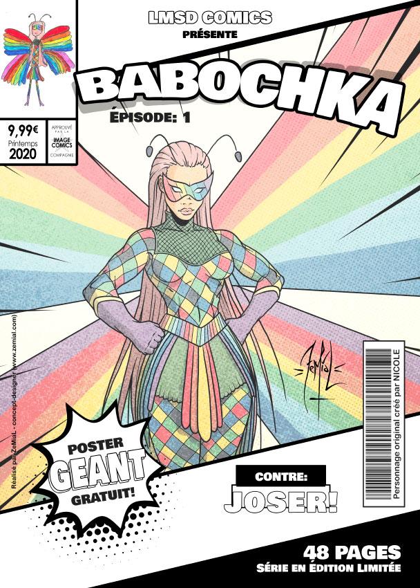 Illustration façon comics du personnage original Babochka