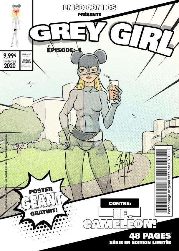 Illustration façon comics du personnage original Grey Girl