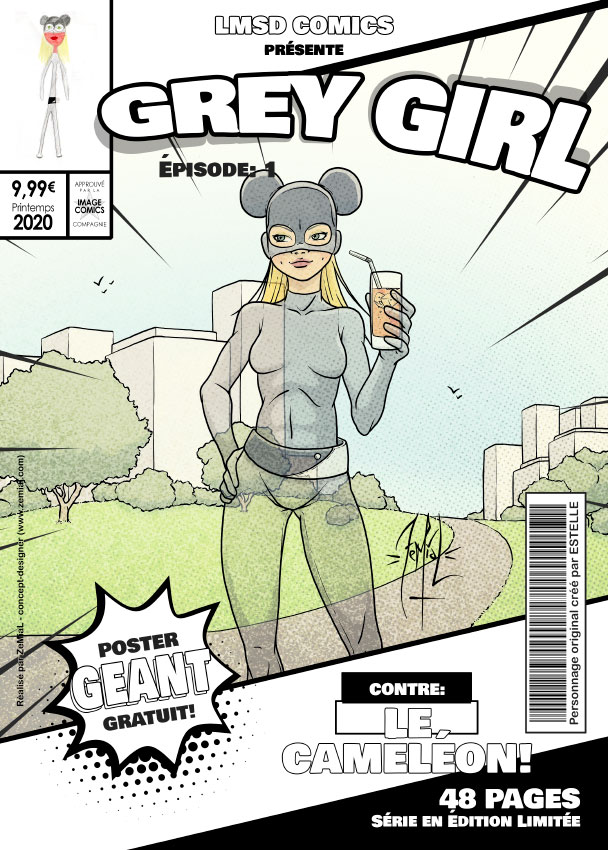 Illustration façon comics du personnage original Grey Girl