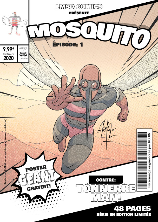 Illustration façon comics du personnage original Mosquito