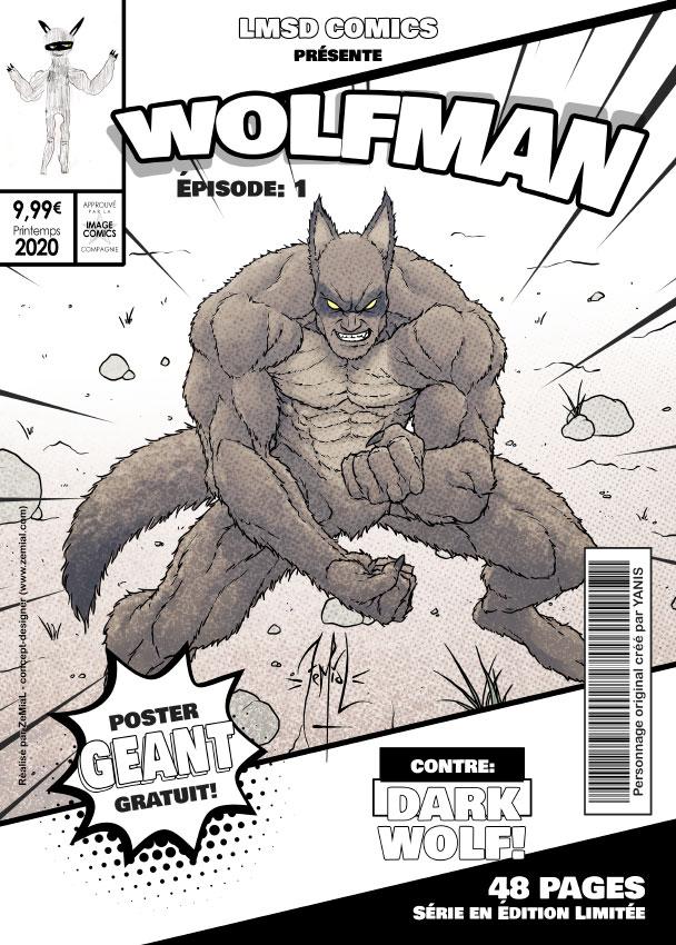 Illustration façon comics du personnage original Wolfman